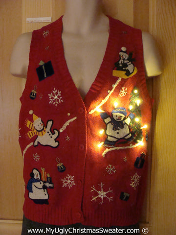 Tacky Xmas Sweater Vest Skating Snowmen with Lights (g119)