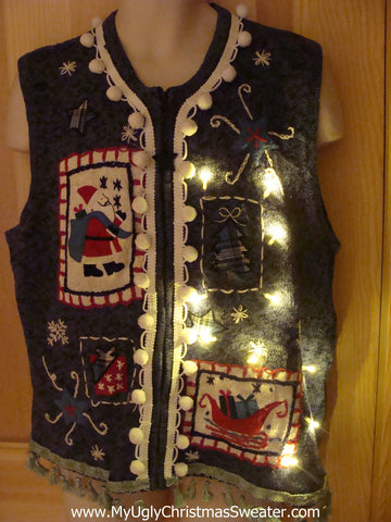 Tacky Ugly Christmas Sweater Vest with Lights and Fringe (g11)