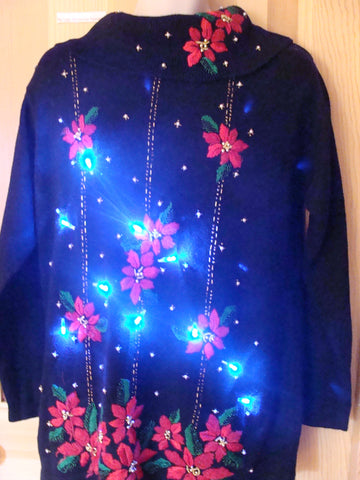 Light Up Ugly Xmas Sweater Red Poinsettias