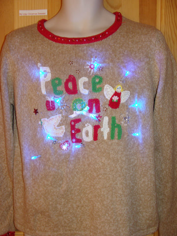 Light Up Ugly Brown Xmas Sweater PEACE ON EARTH