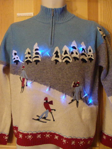 Light Up Ugly Xmas Sweater Ski Theme Winter Pullover