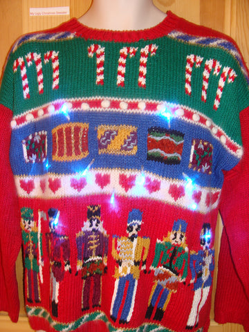 Light Up Ugly Xmas Sweater Nutcrackers and Candycanes