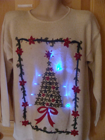 Light Up Ugly Xmas Sweater 80s Tree and Poinsettia