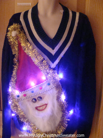 Light Up Ugly Xmas Sweater 3D Furry Santa