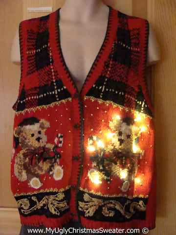 Tacky Xmas Sweater Vest Dueling Bears 80s Style with Lights (g120)
