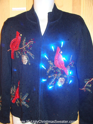 Light Up Ugly Xmas Sweater Red Cardinal Birds