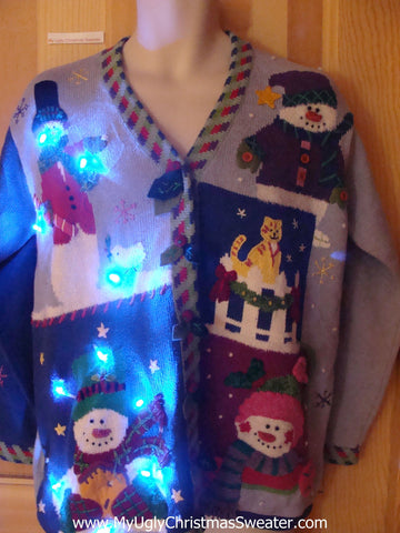 Light Up Ugly Xmas Sweater Snowman and Cat