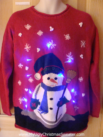Light Up Ugly Xmas Sweater Snowman and Ice Skates