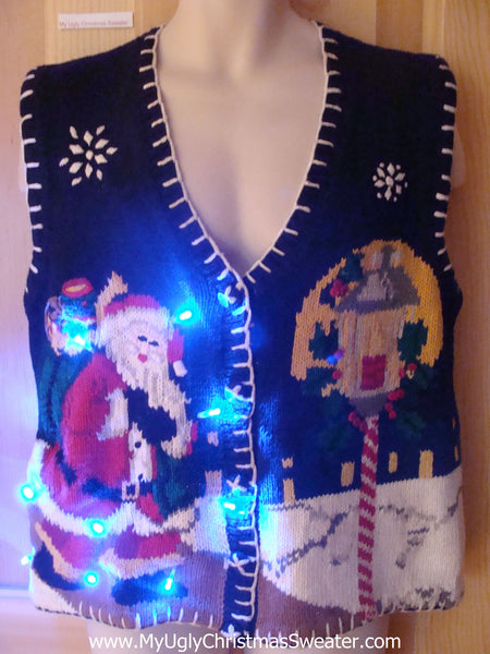 Light Up Ugly Xmas Sweater Vest Santa in Winter · { product.title | escape  }} ... - Light Up Ugly Xmas Sweater Vest Santa In Winter