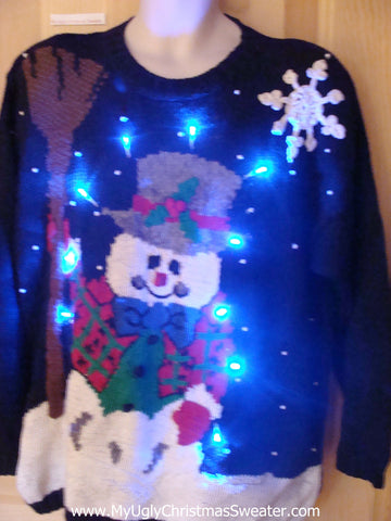 Light Up Ugly Xmas Sweater 80s Huge Snowman