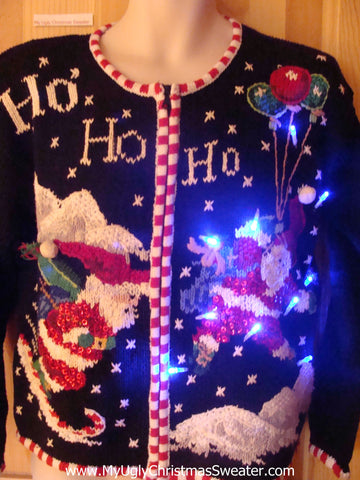 Light Up 80s Ugly Xmas Sweater Santa Skiing Balloons