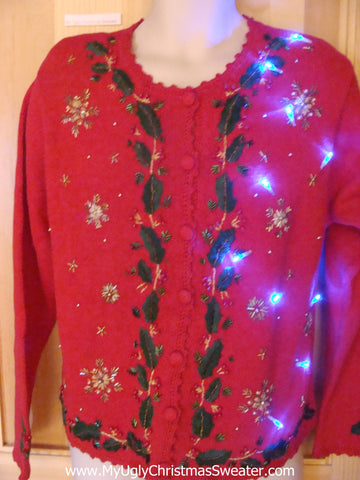 Light Up Ugly Xmas Sweater Ivy and Snowflakes