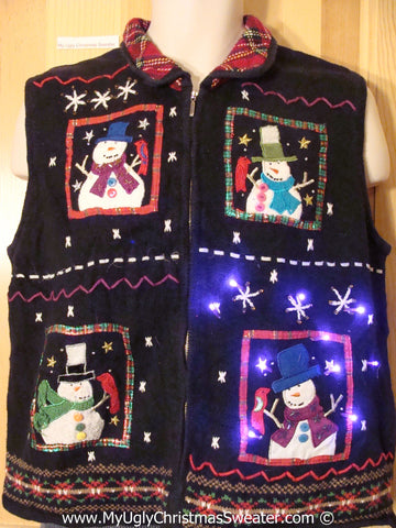 Tacky Xmas Sweater Four Festive Snowmen with Lights (g121)