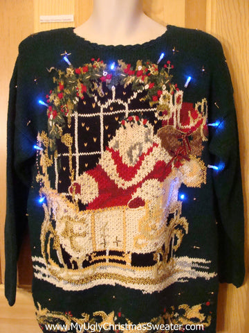 Light Up Ugly Xmas Sweater 80s Santa and Sleigh