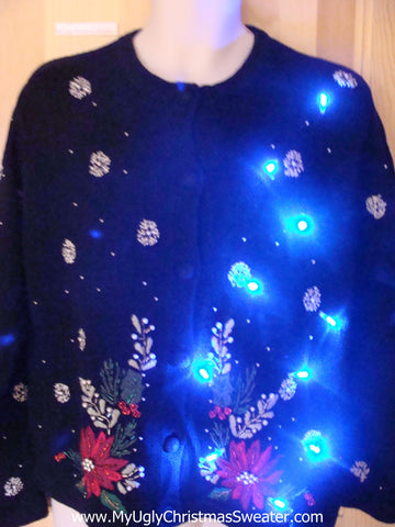 Light Up Ugly Xmas Sweater with Poinsettias