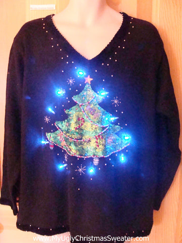 Light Up Ugly Xmas Sweater Festive Tree