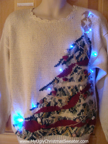 Light Up Ugly Xmas Sweater 80s Huge Tree
