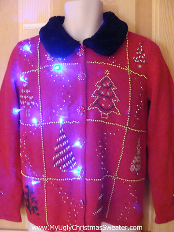 Light Up Ugly Xmas Sweater Furry Collar and Bling