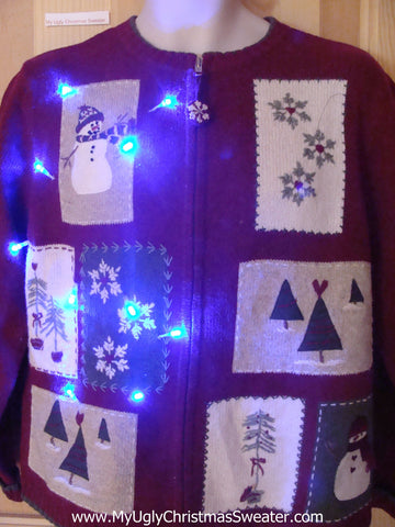 Light Up Ugly Xmas Sweater Snowmen 2sided