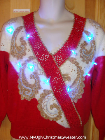 Light Up Ugly Xmas Sweater 80s Horrible Pullover