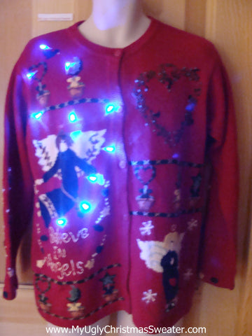 Light Up Ugly Xmas Sweater Angels Cardigan