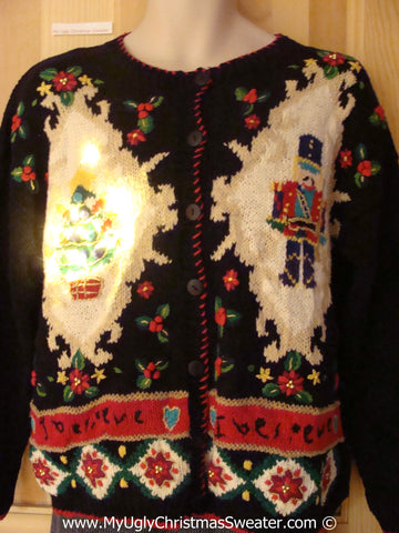Tacky Xmas Sweater 80s Style with Padded Shoulders, Nutcracker, Tree with Lights (g122)
