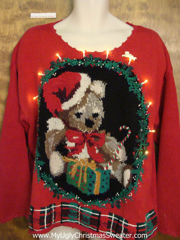 Beary 80s Light Up Ugly Xmas Sweater