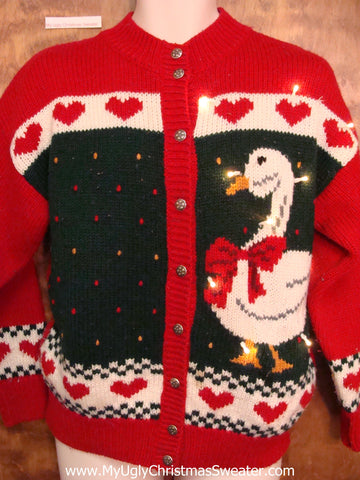 Best 80s Goose Light Up Ugly Xmas Sweater