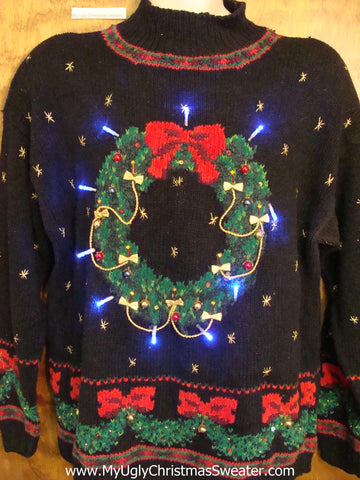 Huge Wreath 80s Style Light Up Ugly Xmas Sweater