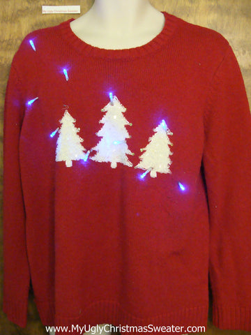 Light Up Ugly Xmas Sweater with Forest of Trees