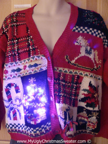 Tacky Xmas Sweater Cardigan with 80s Style Grid Pattern Including Rocking Horse, Candy Cane, Poinsettia, and Loads of Plaid, with Lights (g123)