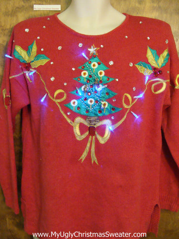 80s Bling Tree Red Light Up Ugly Xmas Sweater