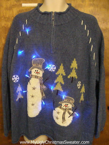 Blue Pullover with Snowmen Light Up Ugly Xmas Sweater