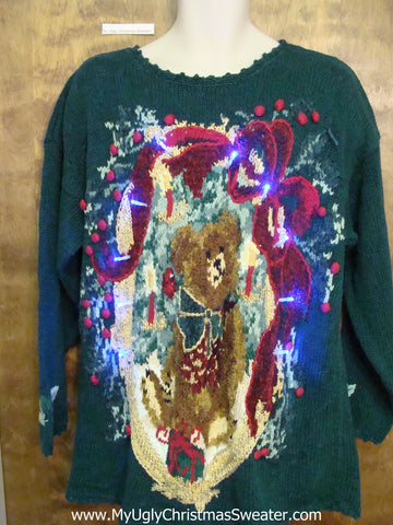 Hue Bear 80s Light Up Ugly Xmas Sweater