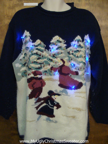 Ice Skating Trio 80s Light Up Ugly Xmas Sweater