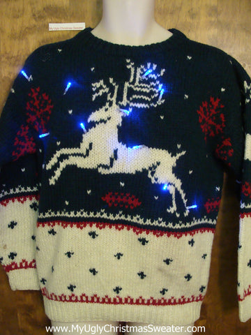 Vintage Reindeer Light Up Ugly Xmas Sweater