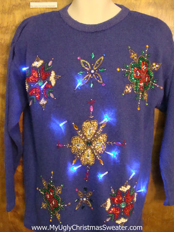 BLING Heaven on this Light Up Ugly Xmas Sweater