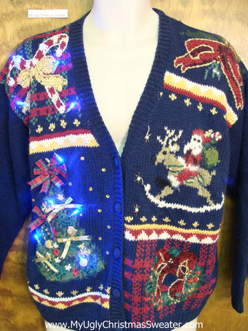 Santa Riding a Reindeer Light Up Ugly Xmas Sweater