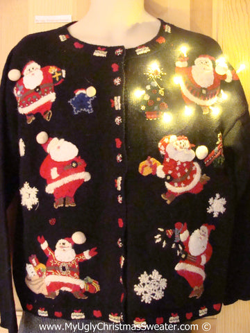 Tacky Xmas Sweater Jolly Santas with Lights (g124)