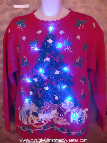 Light Up Red Ugly Xmas Sweater with Huge Tree