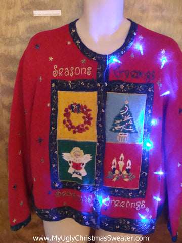 SEASONS GREETINGS Light Up Ugly Xmas Sweater