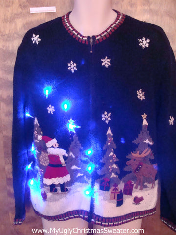 Santa in the Forest Light Up Ugly Xmas Sweater