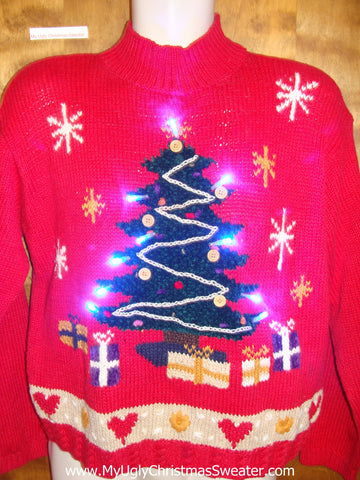 Red 80s Pullover with Tree Light Up Ugly Xmas Sweater