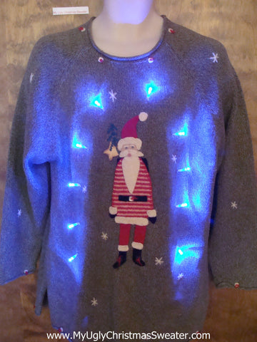 Tall Skinny Santa Light Up Ugly Xmas Sweater