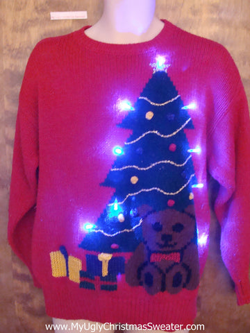 Huge Tree and Teddy Bear Light Up Ugly Xmas Sweater