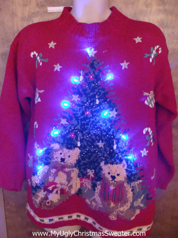 80s Retro Tree and Bears Light Up Ugly Xmas Sweater
