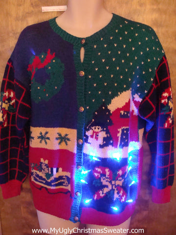 Awesome 2sided 80s Light Up Ugly Xmas Sweater