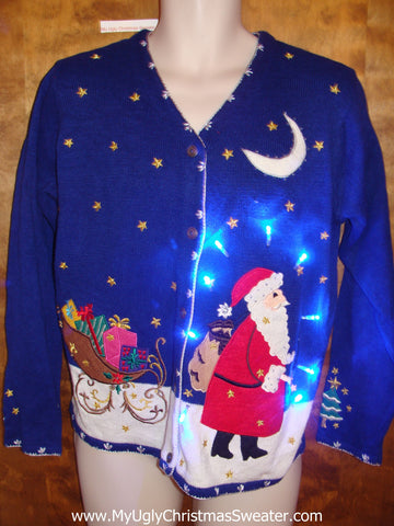 Best 80s Light Up Ugly Xmas Sweater with Santa