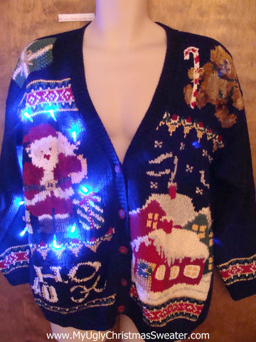 HoHoHo 80s Busy Light Up Ugly Xmas Sweater