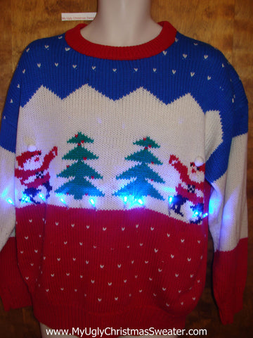 Vintage Old School Light Up Mens Ugly Xmas Sweater